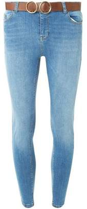 Dorothy Perkins Womens Blue Darcy Tan Belted Skinny Ankle Grazer Jeans