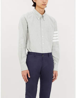 Thom Browne Logo-print regular-fit cotton-flannel shirt