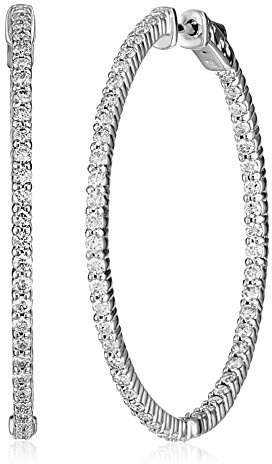 KC Designs Eternity Hoops 14k White Gold Diamond Hoop Earrings , 2.55 cttw