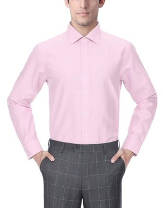 Verno Fashion Big Mens Printed Polk-a-Dot Classic Fit Long Sleeve Dress Shirt