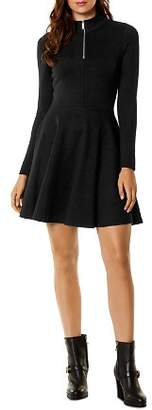 Karen Millen Half-Zip Fit-and-Flare Dress