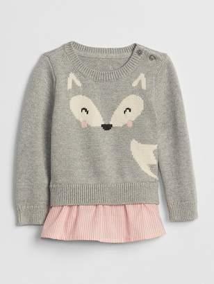 Gap Mix-Fabric Crewneck Sweater