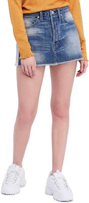 Free People Rugged A-Line Denim Miniskirt