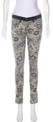 Current/Elliott Floral Print Skinny Pants