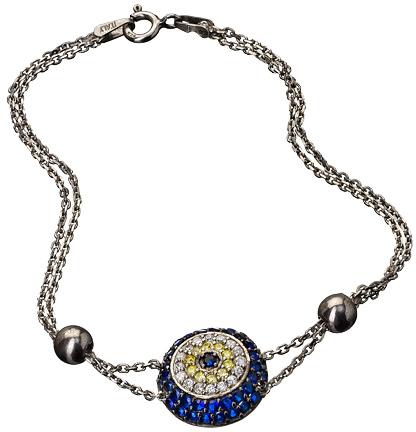 Belair Gold Design Double Chain Evil Eye Pave Bracelet