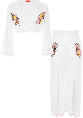River Island Girls white sequin crop top beach outfit