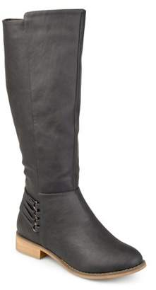 Brinley Co. Women's Wide Calf D-ring Strap Distressed Faux Leather Riding Boots