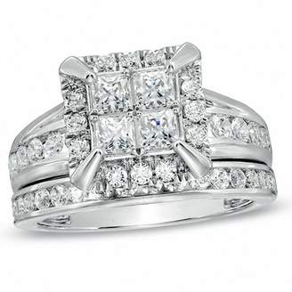 Zales 2 CT. T.W. Quad Princess-Cut Diamond Frame Bridal Set in 14K White Gold