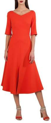 Akris Elbow-Sleeve A-Line Techno Stretch Midi Dress