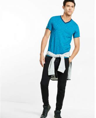 Express space dyed slub knit flex stretch v-neck tee