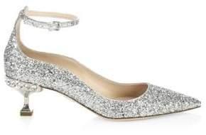 Miu Miu Crystal Glitter Ankle-Strap Pumps