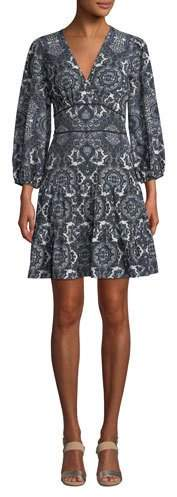Shoshanna Emery Balloon-Sleeve Paisley Dress