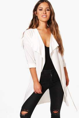 boohoo Petite Tammy Waterfall Ruched Back Belted Duster