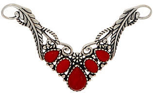 American West Sterling Red Coral Leaf NecklaceInsert