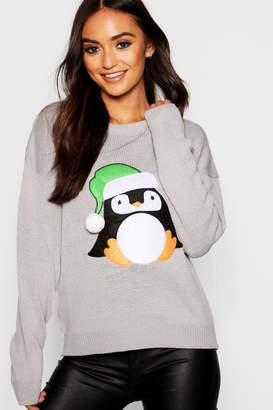 boohoo Petite Christmas Penguin Jumper