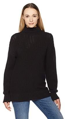 True Angel Women's Funnel Neck Long-Sleeve Pullover Sweater with Yoke S