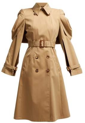 Alexander McQueen Shell Sleeve Cotton Gabardine Trench Coat - Womens - Beige