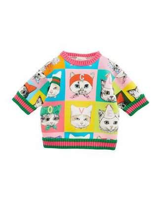 Gucci Pets-Print Sweatshirt w/ Web Knit Trim, Size 12-36 Months