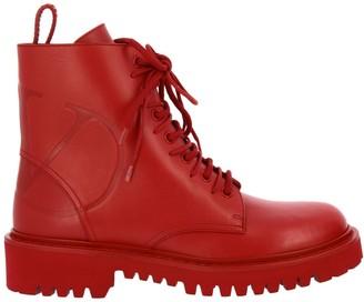 Valentino GARAVANI Flat Booties Garavani Vlogo Boots In Leather With Rubber Sole