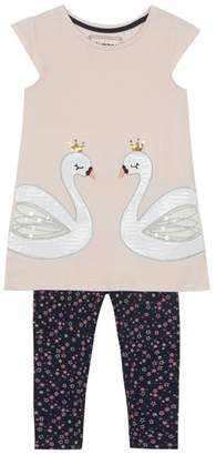 Bluezoo BLUE ZOO 'Girls' Pink Sequinned Swan Tunic And Navy Leggings Set