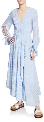 3.1 Phillip Lim Long-Sleeve Flare Chiffon Maxi Dress