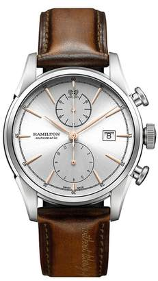 Hamilton American Classic Automatic Chronograph Leather Strap Watch, 42mm