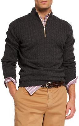 Brunello Cucinelli Men's Cable-Knit Cashmere Quarter-Zip Sweater
