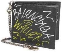 Balenciaga Graffiti Explorer Chain Bi-Fold Wallet