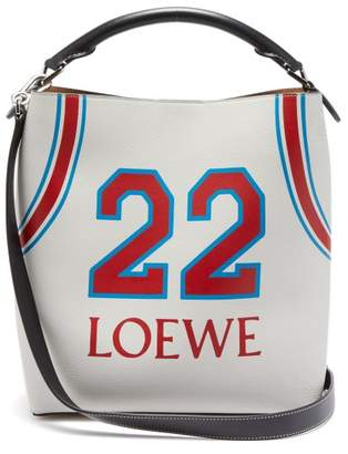 Loewe T Bucket Varsity Leather Bag - Womens - Red White