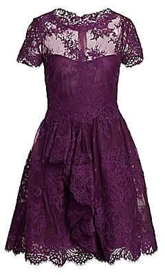 Marchesa Women's Lace & Mesh Cocktail Dress