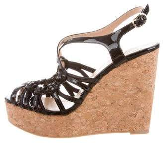 Valentino Patent Leather Wedge Sandals w/ Tags