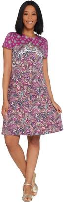 Isaac Mizrahi Live! Engineered Paisley Printed Knit Dress