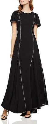 BCBGMAXAZRIA Piped Flutter-Sleeve Gown
