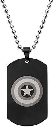 Marvel Comics Unisex Captain America Stainless Steel Chain Dog Tag Pendant Necklace