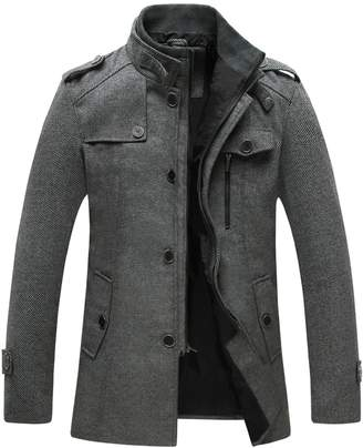Wantdo Men's Winter Stand Collar Wool Blend Outerwear Peacoat
