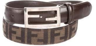 Fendi Leather-Trimmed Zucca Belt