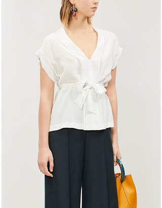 Sandro Belted silk crepe top