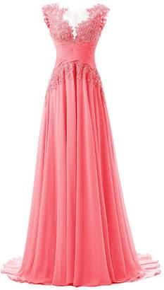 Dresstells® Long Chiffon Prom Dress Bridesmaid Dress Applique Evening Gown