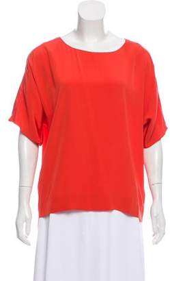 Tibi Short-Sleeve Silk Top