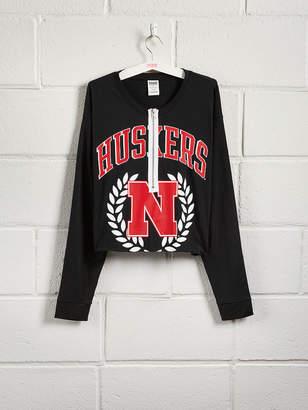 PINK University of Nebraska Zip-Front Long Sleeve Campus Tee
