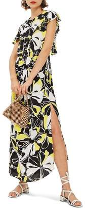 Topshop Deconstructed Floral Print Maxi Dress