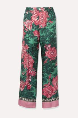 F.R.S For Restless Sleepers Etere Velvet-trimmed Floral-print Silk-twill Straight-leg Pants - Pink