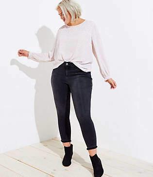 LOFT Plus Front Seam Unpicked Skinny Jeans in Washed Black