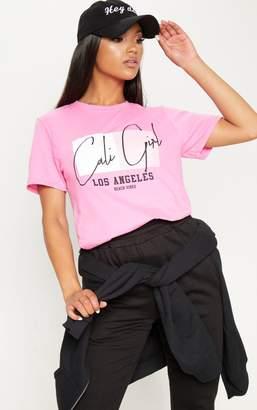 PrettyLittleThing Pink Cali Girl Slogan Oversized T Shirt