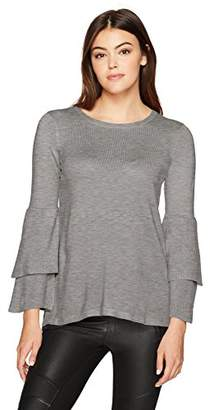 Kensie Women's Soft Sweater With Ruffle Sleeve