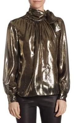 Saks Fifth Avenue Metallic Silk-Blend Neck-Tie Blouse