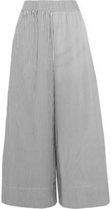 Tibi Cropped Striped Cotton-poplin Wide-leg Pants - Black