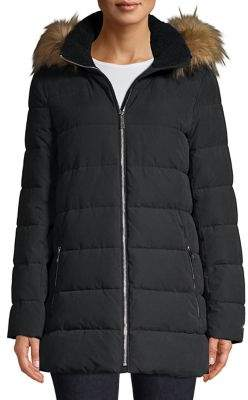 Tommy Hilfiger Faux Fur Hooded A-Line Puffer Coat