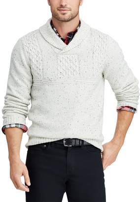 Chaps Big & Tall Cable-Knit Shawl-Collar Sweater