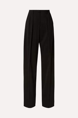 Max Mara Wool-crepe Wide-leg Pants - Black